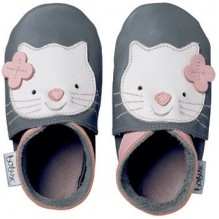 Chaussons G4114 - Gris avec chat rose - 2XL
