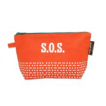 "Trousse / plumier en coton BIO ""SOS"" - Orange"