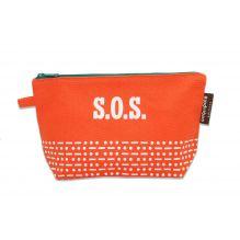 """Trousse / plumier en coton BIO """"SOS"""" - Orange"""