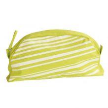 Petite trousse de toilette en coton BIO - verte à rayures