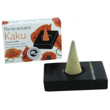 Porte encens en pierre Kaku noir liseré blanc