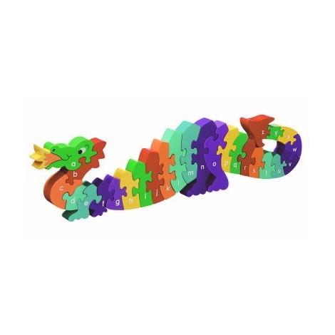 Puzzle en bois 3D dragon - lettres - à partir de 3 ans