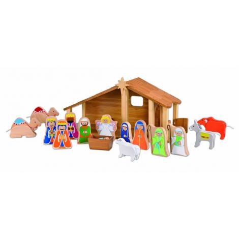 Crèche de Noël en bambou avec figurines à partir de 3 ans *