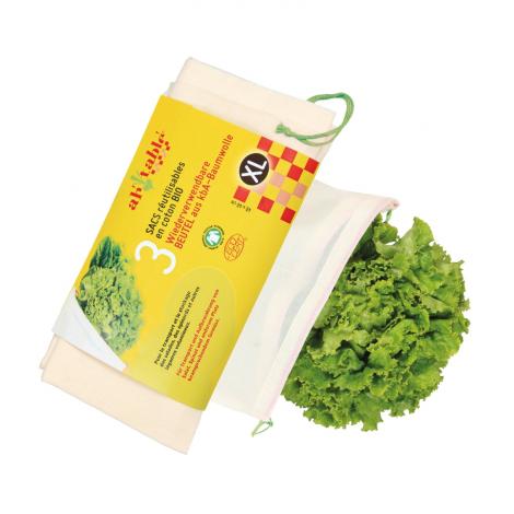 3 sacs réutilisables en coton BIO Légumes volumineuxTaille XL