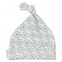 Bonnet blanc en coton BIO - Fleurs bleues