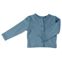 Cardigan fine maille pointelle - Bleu adriatique uni