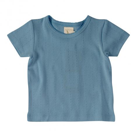 T-shirt fine maille pointelle - Bleu adriatique