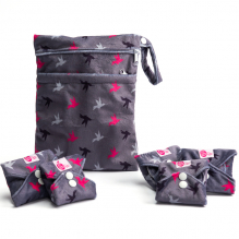 Kit de départ - serviettes hygiéniques lavables - Ultra - Gris oiseaux
