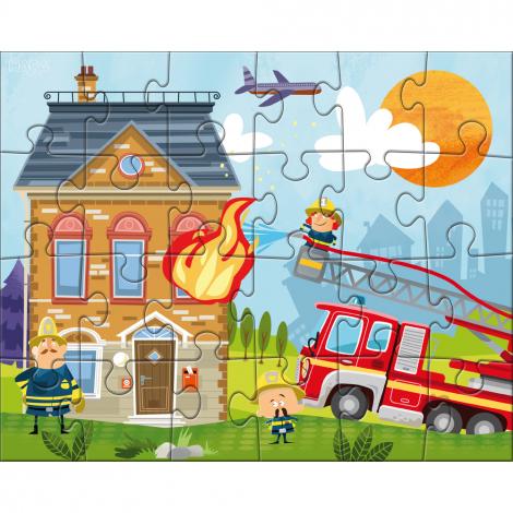 Puzzles 24 pièces - ma petite caserne de pompiers - 3 puzzles - à partir de 4 ans