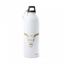 Gourde Inox 1 litre - Blanc avec motif doré