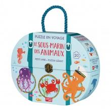 Valisette livre et puzzle en voyage - Le sous marin des animaux - à partir de 3 ans