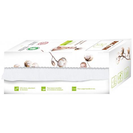 Lingettes sèches en coton BIO - rouleau de 50 unités