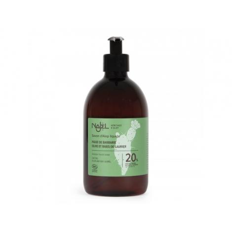 Savon d'Alep liquide 20% huile de baies de figue de Barbarie BIO - 500 ml