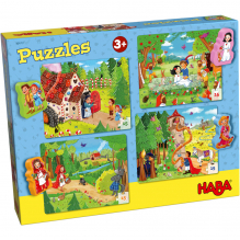 Puzzles contes de fées - lot de 4 puzzles de 15 pièces - à partir de 3 ans