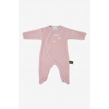 Pyjama velours en coton BIO - Rose et plumes