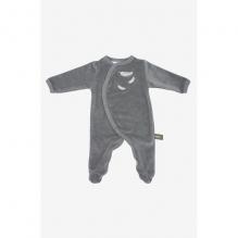 Pyjama velours en coton BIO - Gris et plumes