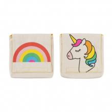 Snack pack: pochette alimentaire en coton BIO - motif licorne et arc en ciel  - lot de 2