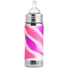 Biberon évolutif en inox - 325 ml - Tétine en silicone - Pink swirl
