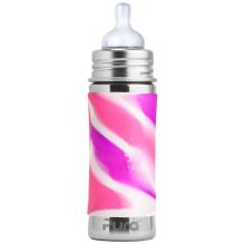 Biberon évolutif en inox - 325 ml - Tétine - Pink swirl