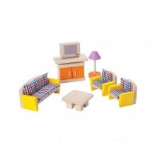 Salon coloré en bois pour maison de poupée - à partir de 3 ans