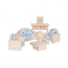 Salon en bois naturel pour maison de poupée - à partir de 3 ans
