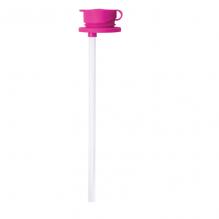 Bouchon en silicone avec paille pour bouteille et gourde - Rose
