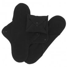 Serviettes lavables - coton BIO - NUIT -  Noir - pack de 3