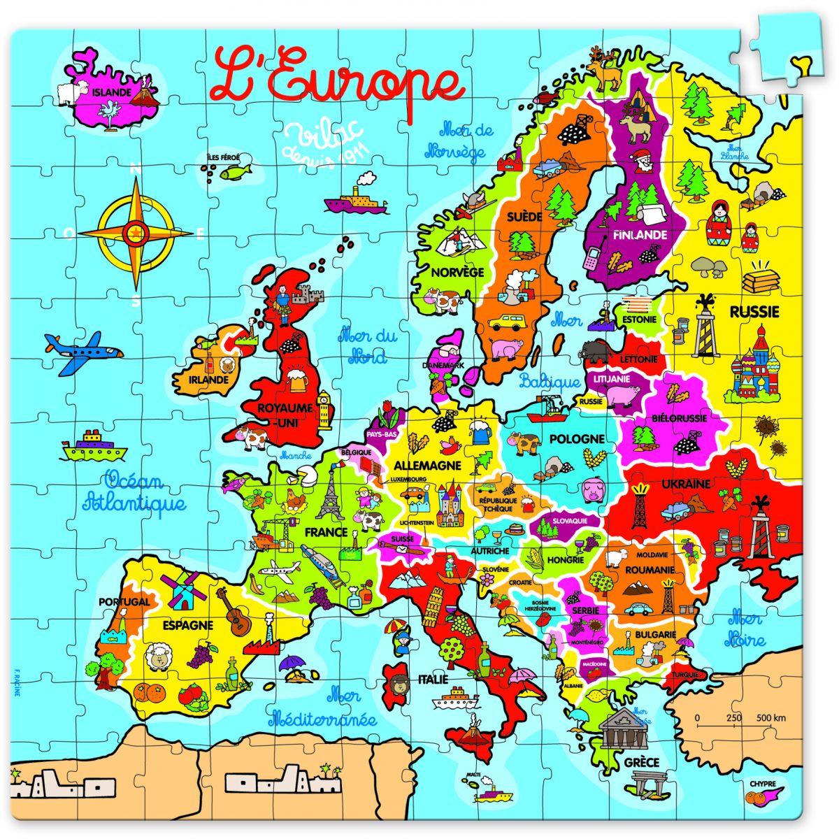 Carte Europe Janod.Puzzle Carte D Europe En Valise En Carton A Partir De 6 Ans Sebio