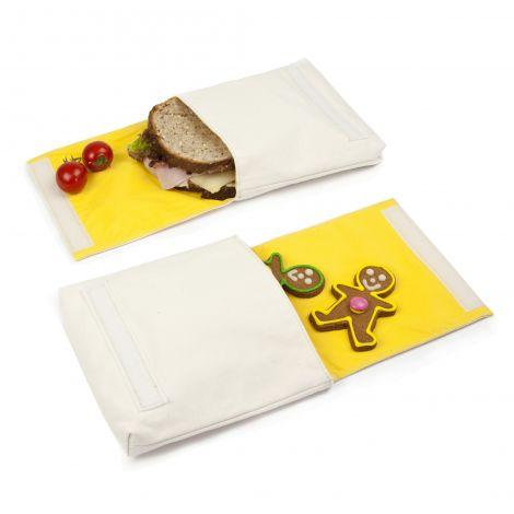 Snack pack: pochette alimentaire en coton BIO - motif Pomme et Orange - lot de 2