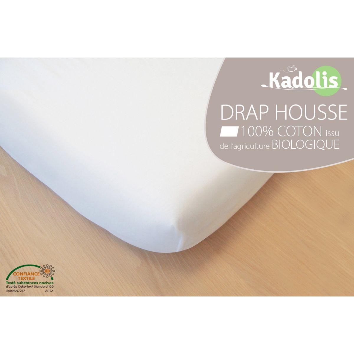 Coloris Ecru Kadolis Drap Housse Coton Bio 40x80cm et 40x90cm Dif