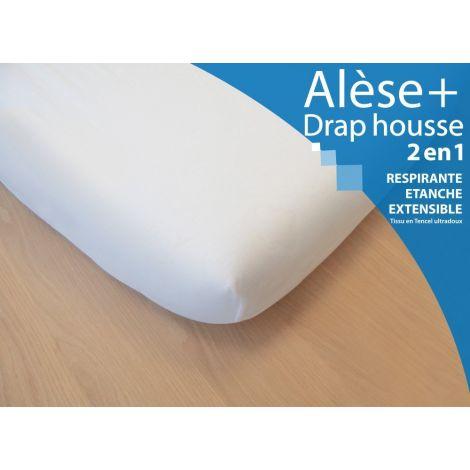 Alèse + Drap Housse 2 en 1   Pour lit simple 90x200 cm   SeBio