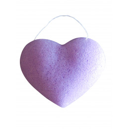 """Eponge Konjac """"Coeur"""" - Violette / peaux sensibles"""
