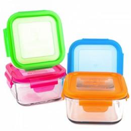 Set de boîtes à repas carrées en verre trempé avec couvercle -  4 x 210 ml