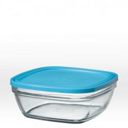 Saladier carré en verre avec couvercle bleu - 20 cm - 200 cl