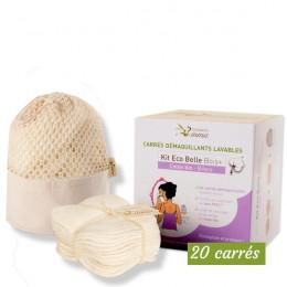 Kit Eco Belle Bois 20 carrés démaquillants lavables - Bambou écru