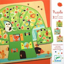 Puzzle 3 niveaux - Chez Nut - à partir de 2 ans
