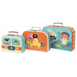 Set de 3 valisettes gigognes en carton - Ingela P. Arrhenius - à partir de 3 ans