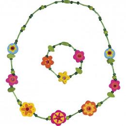 Collier + bracelet Vert fleurs - à partir de 3 ans
