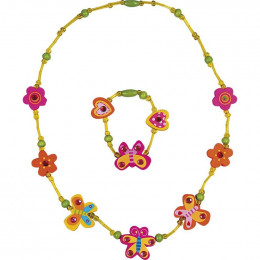 Collier + bracelet Jaune papillons - à partir de 3 ans