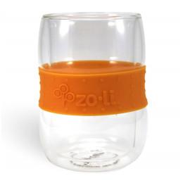 Verre doubles parois et bande antidérapante - 300 ml Orange Lot de 2