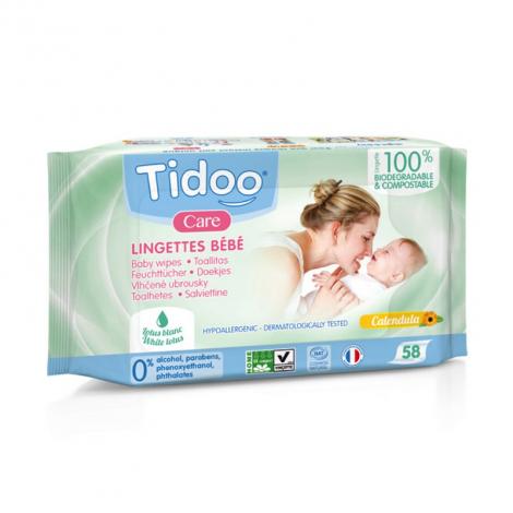 Lingettes bébé compostables au calendula Parfum naturel - 58 pièces