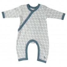 Pyjama blanc longues manches coton BIO Fleurs bleues