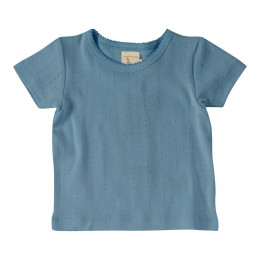 T-shirt fine maille pointelle - Bleu adriatique