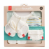 Set de naissance. Moufles, chaussons souples turbulette  en matières Bio et respirantes 0/3 mois
