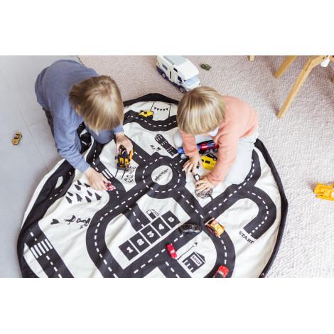 Sac de rangement et tapis de jeu (2 en 1) Play&Go - Circuit / Éclair - dès la naissance