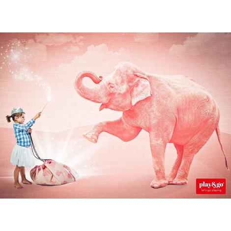 Sac de rangement et tapis de jeu - Pink Elephant - dès la naissance