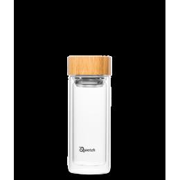 Théière nomade en verre double parois 430 ml bouchon en bambou