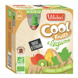 Cool Fruits - Banane Kiwi Epinard - Lot de 4 Gourdes