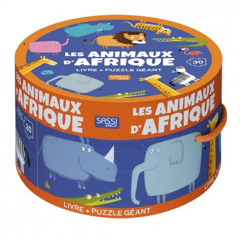 Puzzle géant + livre Les animaux d'Afrique 30 pièces A partir de 3 ans