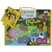 Les animaux de la jungle - puzzle géant de 30 pièces + livre - à partir de 3 ans